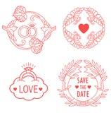 Gifta sig monogram Linjen designbeståndsdelar för inbjudan, dekorerar, ramar och gränser i modern stil Royaltyfri Bild