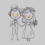 Gifta sig par med blommor Arkivbilder