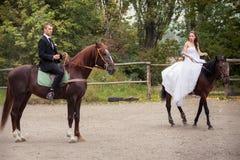 Gifta sig par på hästar Arkivbilder