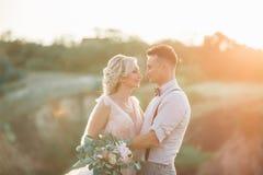 Gifta sig par på naturen i sommardag arkivbilder