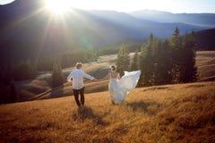 Gifta sig par som har gyckel i bergen bröllopsresa Arkivbilder
