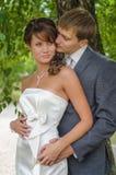 Gifta sig par som omfamnar bland vridna buskefilialer Arkivbild