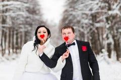 Gifta sig par som poserar med pinnehjärtor, maskering Arkivbild