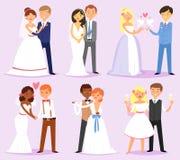 Gifta sig parvektorn att gifta sig bruden, eller fästmö- och brudgum- eller fiancetecken gifta sig på illustrationuppsättningen a royaltyfri illustrationer
