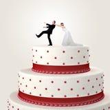 Gifta sig rolig tårta Royaltyfri Foto