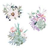 Gifta sig säsongsbetonade buketter för blommavektordesign stock illustrationer