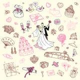 Gifta sig set. Hand tecknad illustration. Royaltyfri Bild