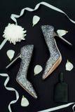 Gifta sig skor av bruden, mode arkivbild