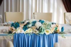 Gifta sig tabellen, bruden och brudgumtabellen som gifta sig tabelldecorati Arkivbilder