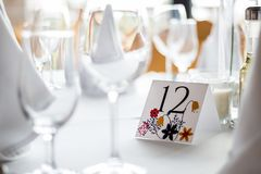 Gifta sig tabellen med nummer Arkivfoto