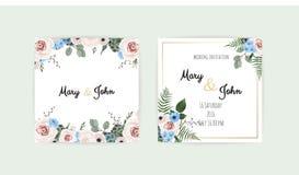 Gifta sig uppsättningen med inbjudningar Vektoruppsättning av för bröllopinbjudan för tappning blom- mallar royaltyfri illustrationer