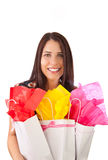 giftbags νεολαίες κοριτσιών Στοκ φωτογραφίες με δικαίωμα ελεύθερης χρήσης