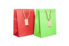Giftbags med isolerade etiketter Royaltyfri Fotografi