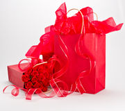 Giftbags and roses Royalty Free Stock Photos