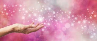 Giftbon het Fonkelen het Roze schittert Bokeh-Banner Stock Fotografie