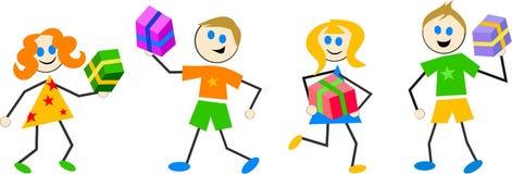 giftbox孩子 免版税图库摄影