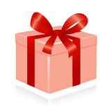 giftbox红色丝带 皇族释放例证
