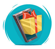 Giftbox with Bow Mobile Phone Win Present Cartoon Greating Card Design Vector Illustration Royalty Free Stock Photos
