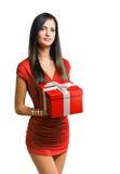 Giftbox brunette beauty. Stock Image