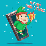 Giftbox Christmas New Year Gift Card Mobile Phone Cartoon Design Vector Illustration Stock Images