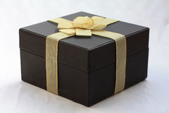 Giftbox com decorações douradas Fotos de Stock Royalty Free
