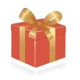 Giftbox con il nastro dell'oro. Fotografie Stock Libere da Diritti