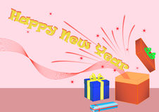 Giftbox de la Feliz Año Nuevo Imagen de archivo libre de regalías