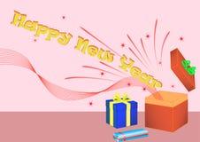 Giftbox del buon anno immagine stock libera da diritti