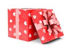 Giftbox del día de tarjetas del día de San Valentín Fotografía de archivo libre de regalías