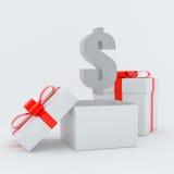 GiftBox dollar Royaltyfri Bild