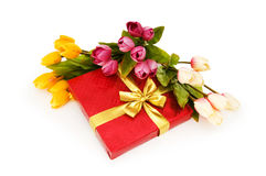 Giftbox and flowers Royalty Free Stock Photo