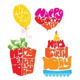 Giftbox a formé du texte de joyeux anniversaire Image stock