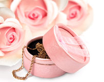 Giftbox with a gold chain. On a background of roses royalty free stock photography