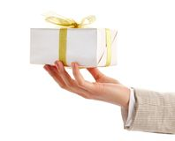 Giftbox in hand Stock Photography