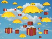 giftbox hoppa fallskärm Royaltyfri Fotografi