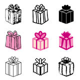 Giftbox icons set. Pink giftbox icons vector set royalty free illustration