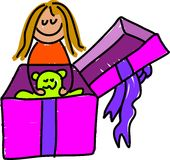 Giftbox Kind Lizenzfreies Stockbild