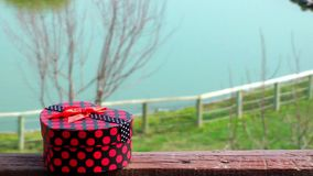 Giftbox and lake. Video and heart box stock video footage
