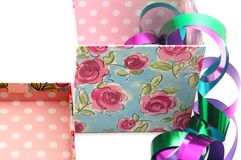 Giftbox, lid and ribbons Stock Images