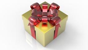 Giftbox luccicante dell'oro con l'arco rosso su fondo bianco 3d rendono Immagine Stock