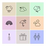 Giftbox , maskara , earings , Ecology , eco , icons , weather ,. Enviroement , icon, vector, design,  flat,  collection, style, creative,  icons , cloud , rain Royalty Free Stock Photography