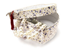Giftbox with pearls Stock Image