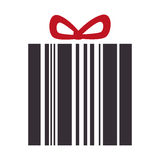 Giftbox present with barcode isolated icon Stock Images