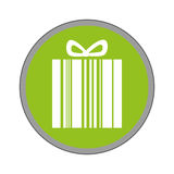 Giftbox present with barcode isolated icon Royalty Free Stock Photos
