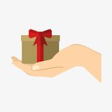 Giftbox present on hand. Ribbon giftbox present on hand. Isolated on white background. Flat  stock illustration Stock Photo