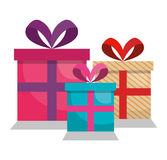 Giftbox presents set icons. Illustration design Royalty Free Stock Image