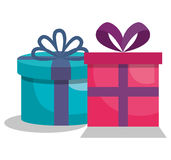 Giftbox presents set icons. Illustration design Royalty Free Stock Images