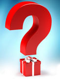 Gift with questionmark. Giftbox with questionmark, surprise concept Royalty Free Stock Photo