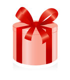 Giftbox with red ribbon. Royalty Free Stock Images