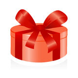 Giftbox with red ribbon. Stock Photos